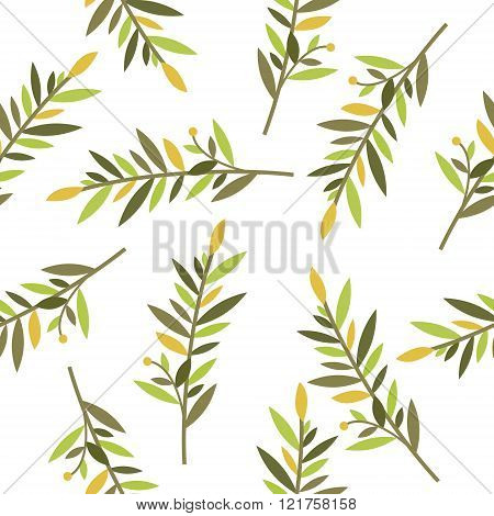 floral seamless pattern with branches of laurel for textile print