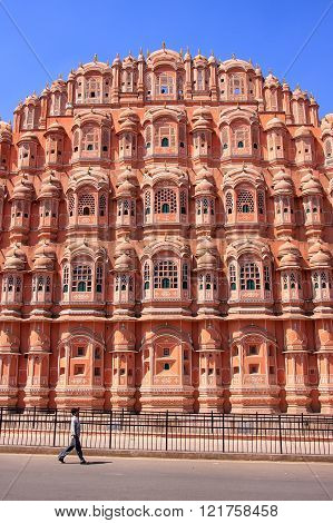 Jaipur, India - February 27: Unidentified Man Walks Near Hawa Mahal On February 27, 2011 In Jaipur,