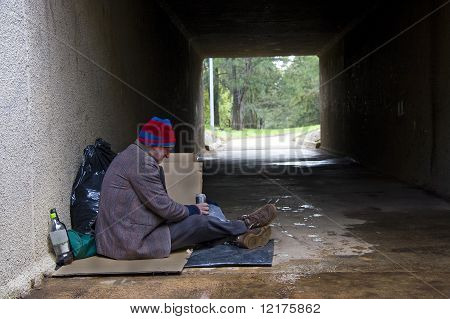 Homeless man finds shelter