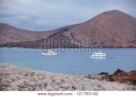 Galapagos, Ecuador - April 20: Yachts Anchored Between Bartolome And Santiago Islands On April 20, 2