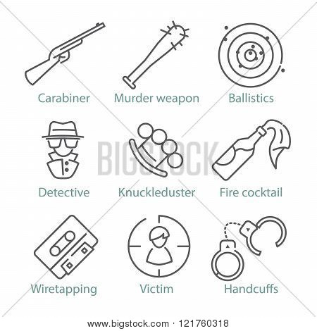 Vector Thin Line Police Icons