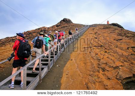 Galapagos, Ecuador - April 20: Unidentified People Hike To Viewpoint On April 20, 2015 On Bartolome