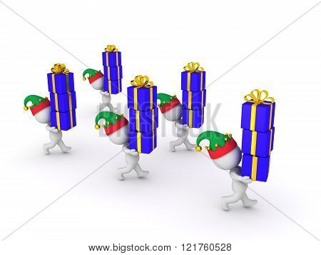 Several 3D Characters with Elf Hats Carrying Wrapped Gift Boxes