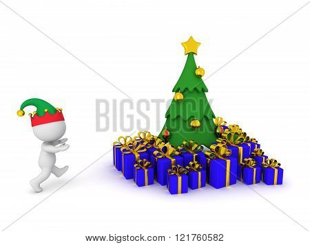 3D Character Running Toward Christmas Tree With Gifts