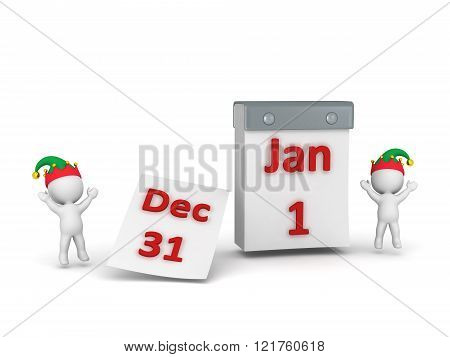 3D Characters Cheering And Calendar With December 31St Turning To January 1St