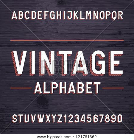 Vintage style alphabet vector font. Letters and numbers on the dark wooden background.