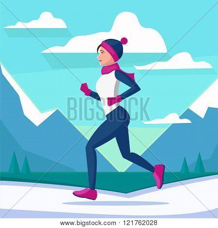 Vector illustration of woman running in winter morning. Flat vector landscape scenicurning. Woman running winter marathon