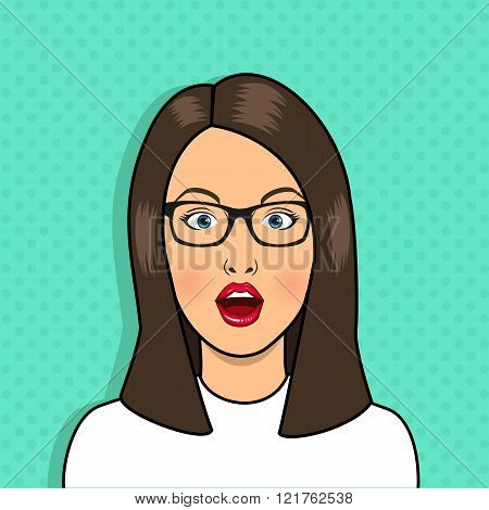 Pop art surprised woman face with open mouth. Sexy woman wear glasses. Vintage comic girl poster. Pop Art girl. Vector pop art poster.