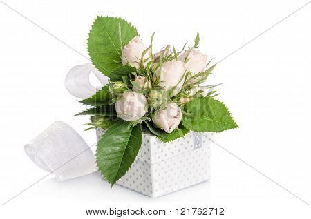 Bouquet Of White Roses And Gift Box On White Background