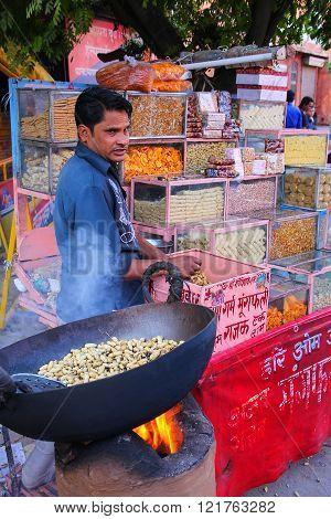 Jaipur, India - November 15: Unidentified Man Rsells Snacks At Street Market On November 15, 2014 In