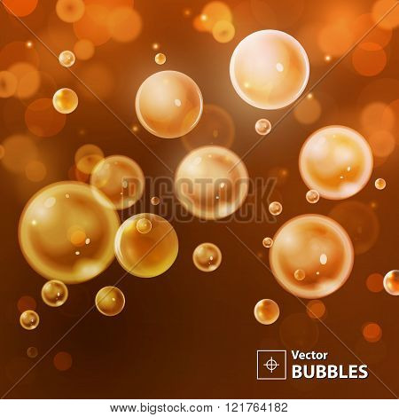Red and orange blur background with bubbles. Holiday abstract ba