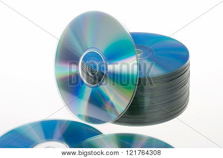 a CD stack isolated on white background