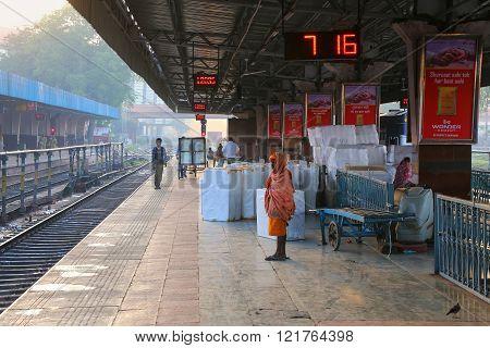 Jaipur, India - November 15: Unidentified People Wait For The Train At Jaipur Junction Railway Stati