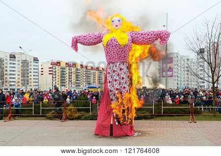 Traditional Burning Of Scarecrow Of Shrovetide During Shrovetide Festivities
