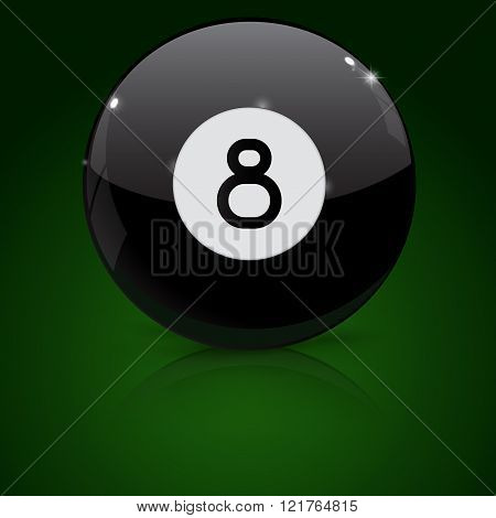 Eight billiard ball on green background