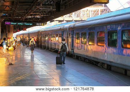 Jaipur, India - November 15: Unidentified Men Walk At Jaipur Junction Railway Station On November 15