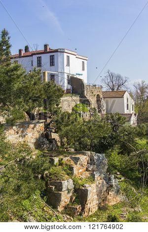 landscape view white villa on the mountain Yorgey in Biyukada