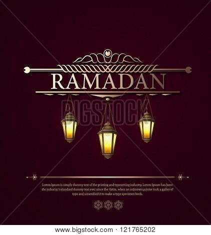 Arabic vector Lamp on dark abstract background for Ramadan Karee