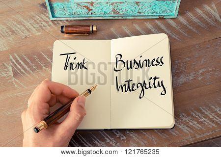 Written Text Think Business Integrity