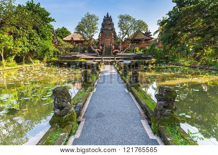 Pura Saraswati Temple with beatiful lotus pond Ubud Bali Indonesia