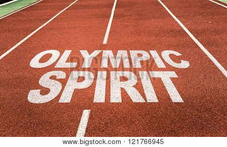 SAO PAULO, BRAZIL - MARCH 14, 2016: Olympic Spirit written on running track