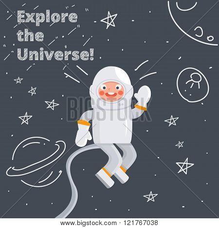 Astronaut kid in hand drawn space. Explore the universe. Vector children illustration.