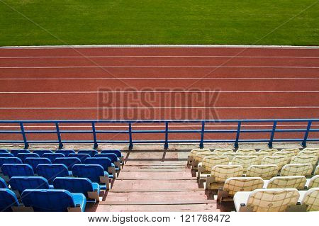 Running track at the stadium. Top view.