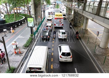 Roads with traffic jams in Bangkok.