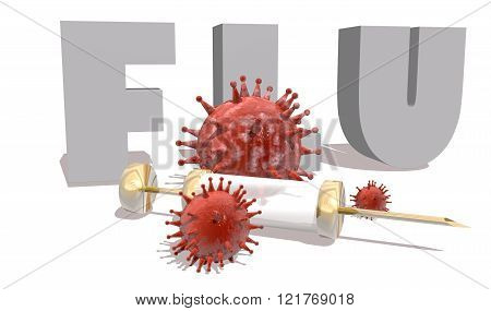 Flu Desease, Abstract Virus Models And Syringe