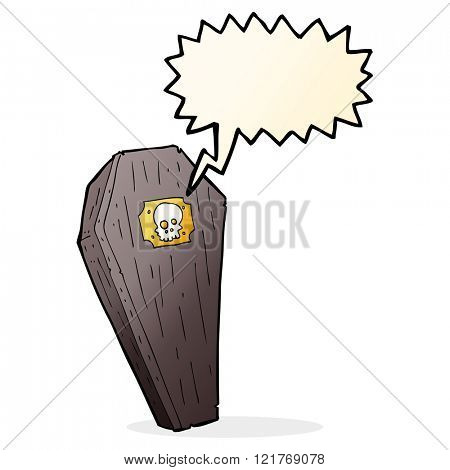 spooky cartoon coffin with speech bubble