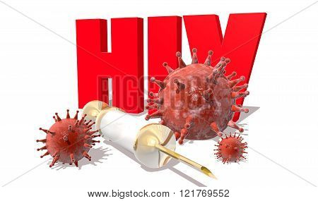 Hiv Desease, Abstract Virus Models And Syringe
