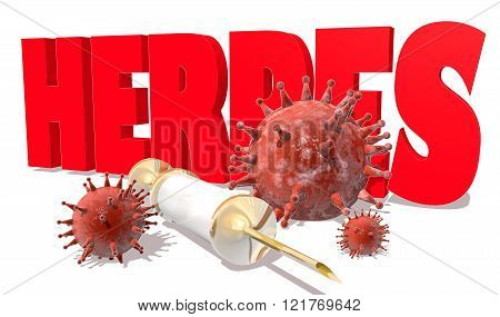 Abstract virus image on backdrop and Herpes text. Herpes virus danger relative illustration. Medical research theme. Virus epidemic alert. 3D rendering