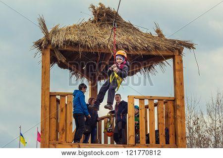 Zipline entertainment on Shrovetide Celebration in Zaporizhia