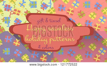 Set Of Four Seamless Holiday Patterns With Gifts