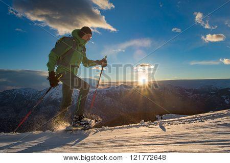 Man Practice Snowshoeing