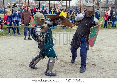 Knight battle on Shrovetide Celebration in Zaporizhia