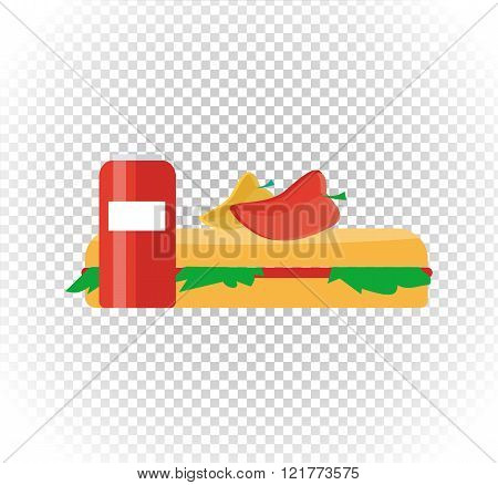 Fast Food Burger and Drink Flat Design