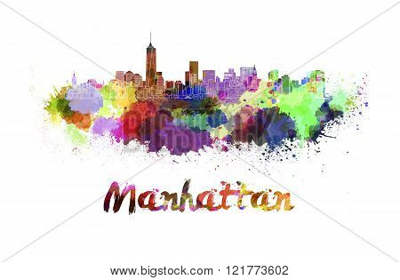 Manhattan Skyline In Watercolor