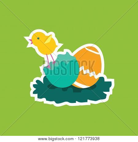 Easter Chicken Icon Egg Design Flat
