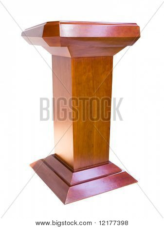 Oak podium isolated on white background