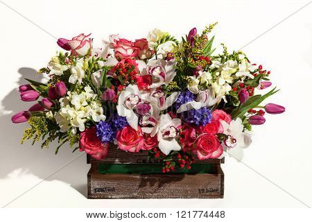 Flower Bouquet Composition For The Holiday, Spring Bouquet Of Fl