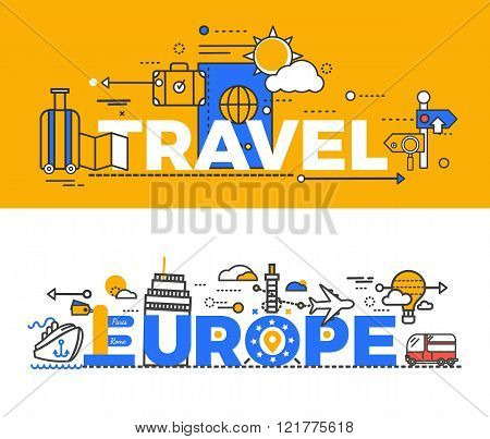 Travel Europe Design Flat Concept