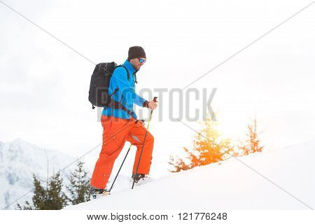 Uphill with skins under the skis in the italian alps
