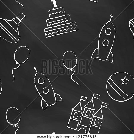 Seamless pattern black chalk board with white children's chalk drawings. Hand-drawn style. Seamless