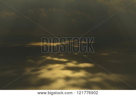 Sun rays shining at sea