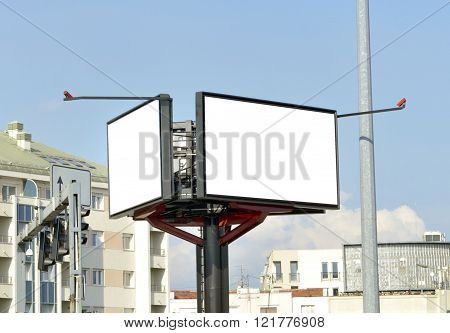 White billboard on street