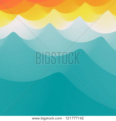 Background of Blue Waves. Wavy Realistic Background. Wavy Vector Illustration. 3D Vector Template. Abstract Background.