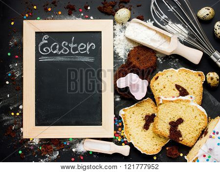 Easter Baking Background. Festive Cake With Chocolate Bunny Inside