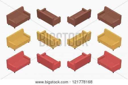 Isometric modern colored sofas