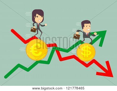 Business people with profit and loss arrow